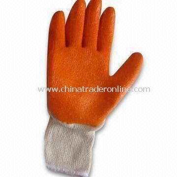 10gg T/C Knitted Working Smooth Gloves, Measures 22.5 to 24cm, Made of Nature Latex/Orange Crinkle
