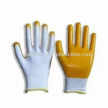13gg Working Safety Gloves in Orange, Available in 22 to 23cm Sizes, Made of Cotton and PVC Rubber