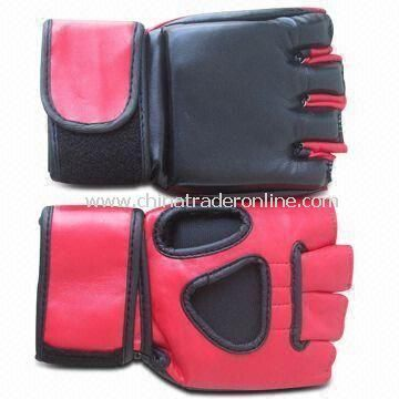 Boxing Gloves with Sticky Buckle, Made of Microfiber Leather, Available in Various Sizes
