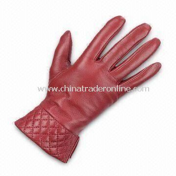Ladies Gloves with Cotton Lining, Made of Real/PU Leather, Various Colors are Available