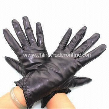 Ladies Gloves with Cotton Lining, Made of Real/PU Leather, Various Colors Available