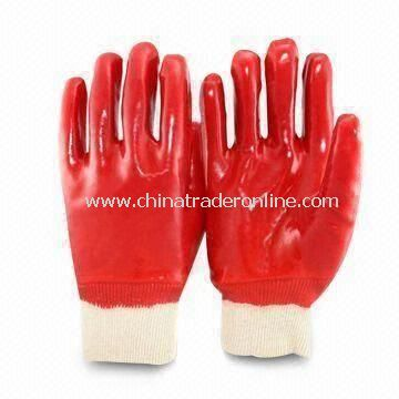 Red Safety Gloves, Made of PVC Material, with Silkscreen Logo Printing and Abrasion-resistant