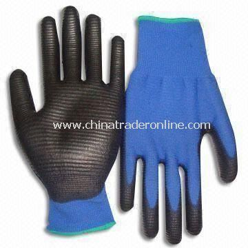 Safety Gloves with Nylon Lining and Palm Coating, Made of PU, Suitable for Electronics Industry from China