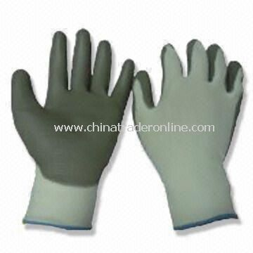 Safety Gloves with Palm Coating, Made of PU and Nylon Lining, Available in Light Blue