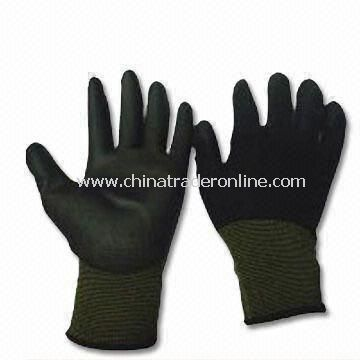 Safety Gloves with PU Palm Coating, Made of White Nylon, Fine Knitted Nylon Liner