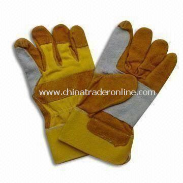 Safety Gloves with Yellow Cup, Made of Pigskin or Leather