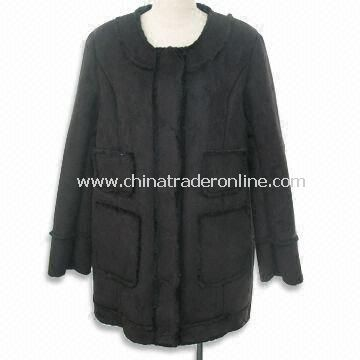 Womens Coat, Made of Poly Suede Bounded, Round Neck, with 4 Pockets