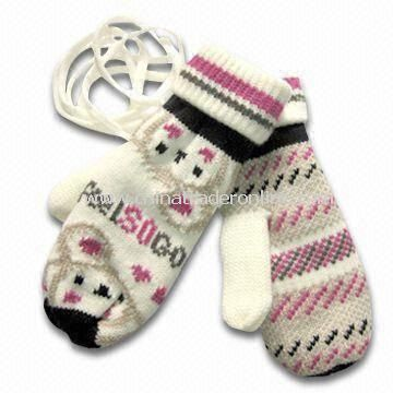 Fashionable Knitted Gloves with Jacquard Weave, Made of Acrylic, Customized Designs are Accepted