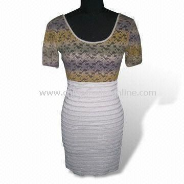 Fashionable Sheath Dress with Gradient Printing Style, Made of 100% Cotton
