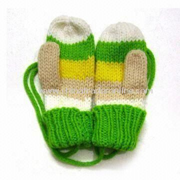 Fasionable Knitted Gloves, Made of 100% Cotton, Customized Designs are Welcome