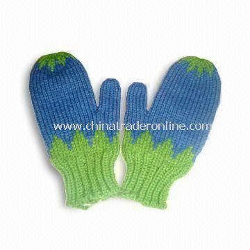 Knitted Gloves, Made of 100% Cotton, Customized Design and Colors are Welcome