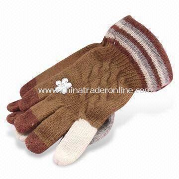 Knitted Gloves, Made of 100% Wool, Customized Colors are Accepted, Designs Can be Printed