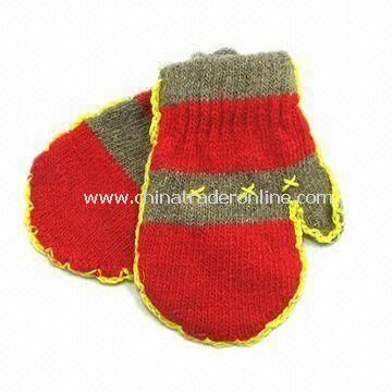 Knitted Gloves, Made of 100% Wool, Customized Prints are Accepted, Eco-friendly