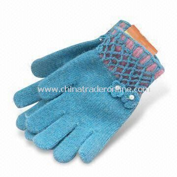 Knitted Gloves, Made of 100% Wool