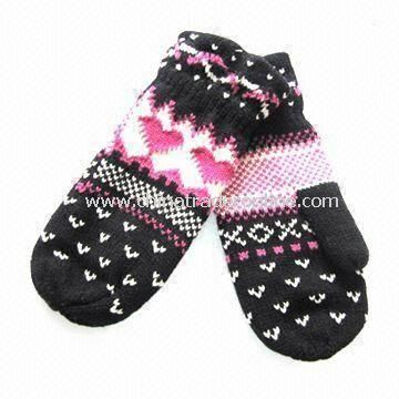 Knitted Gloves, Made of Acrylic, with Jacquard Weave, Customized Designs are Accepted