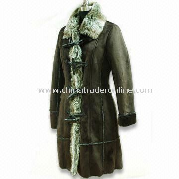Ladies Coat with 2 Tones Fake Fur, Made of 50% Acrylic and 50% Polyester