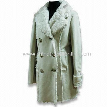 Ladies Long Coat with Fake Fur, Made of 100% Polyester