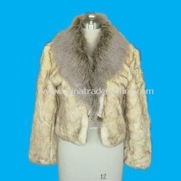Long Sleeve Womens Fur Jacket Made of Acrylic and Polyester in Camel Color