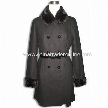 Womens Coat with PU Belt, Made of Polyester Seude Bounded with Fake Fur