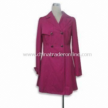 Womens Double Breasted Wind Coat with Polyester Lining, Made of Cotton