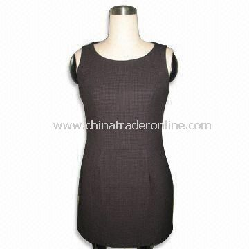Womens Dress with Polyester Lining, Made of Wool Fabric