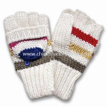 Womens Knitted Glove in 1.5GG Striped, Made of Acrylic and Wool