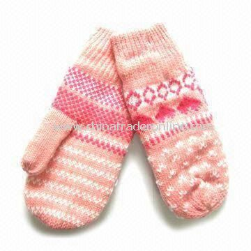 Womens Knitted Gloves, Made of Acrylic, Customized Designs are Accepted, with Jacquard Weave