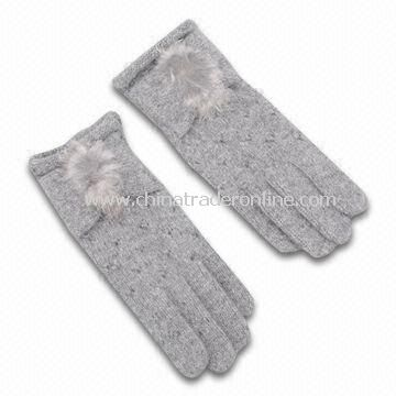 Womens Knitted Gloves, Made of Wool and Fur, Customized Designs are Accepted