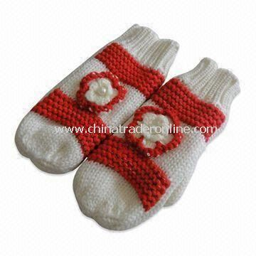 Womens Knitted Gloves with Flower Decoration, Made of Acrylic, Customized Designs are Accepted