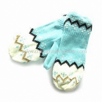 Womens Knitted Gloves with Jacquard Weave, Customized Designs are Accepted, Made of 100% Acrylic