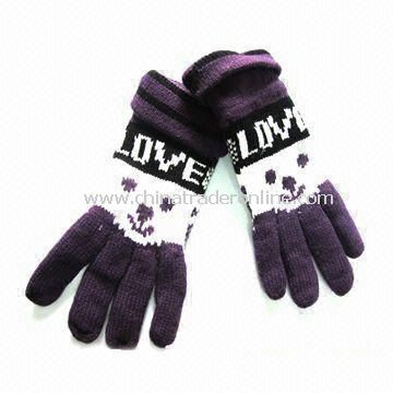 Womens Knitted Gloves with Jacquard Weave, Made of Acrylic, Customized Designs are Accepted