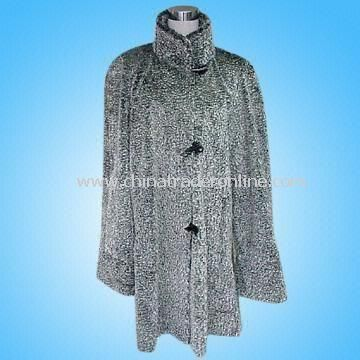 Womens Fur Coat in Black/Gray Combination
