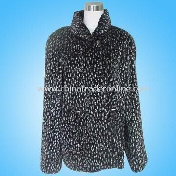 Womens Fur Coat Made of 80% Acrylic and 20% Polyester from China