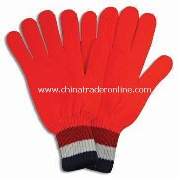 Acrylic Winter Knitted Gloves with Embroidery, Available in Red