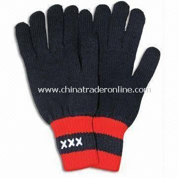 Black Winter Knitted Gloves with Embroidery, Made of Acrylic