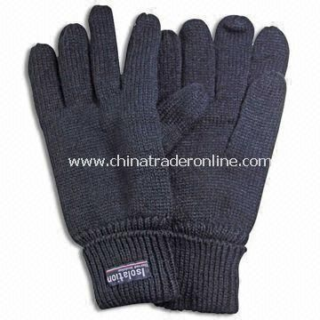 Knitted Gloves Without Embroidery, Made of Acrylic, Suitable for Winter