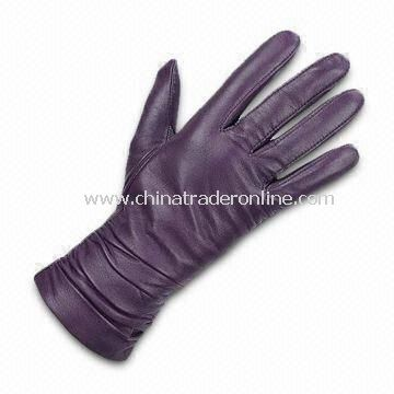 Ladys Gloves with Cotton Lining, Made of Real/PU Leather, Available in Various Colors