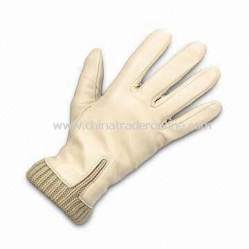 Ladys Gloves with Cotton Lining, Made of Real/PU Leather, Various Colors are Available