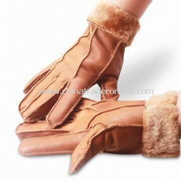 Ladys Gloves with Cotton Lining, Made of Real/PU Leather, Various Colors are Available from China