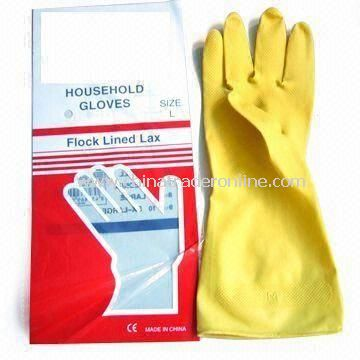 Latex Gloves, Available in Yellow, Red, Blue, Orange and Green, Suitable for House Cleaning Works