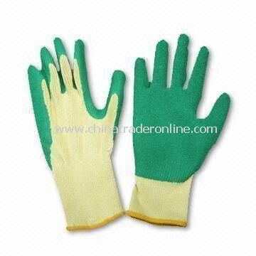 Latex Rubberized Gloves with 10 Gauge Seamless Cotton Knitted Lining, Available in Various Sizes