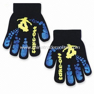 Magic Gloves with Printed Designs, Made of 100% Acrylic, OEM Orders are Welcome from China