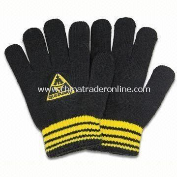 Winter Knitted Gloves with Embroidery, Made of Acrylic