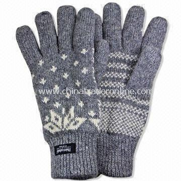 Winter Knitted Gloves with Jacquard Design, Made of Acrylic