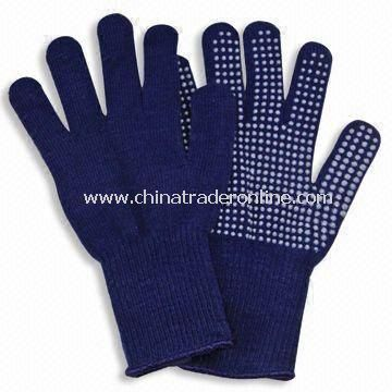 Winter Knitted Gloves with Plastic Points for Slipping, Made of Acrylic from China