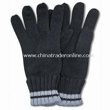 Winter Knitted Gloves without Embroidery, Made of Acrylic from China