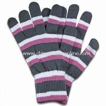 Winter Knitted Gloves without Embroidery, Made of Acrylic