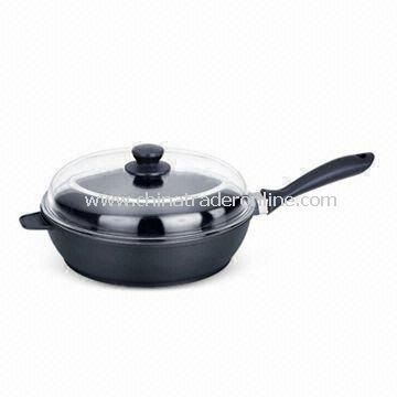24cm Cookware Deep Frying Pan, Environment-friendly, Made of Aluminum Die-cast