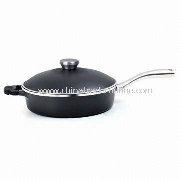 24cm Saute Pan with Die-cast Aluminum Lid and Stainless Steel Handle, Suitable for Oven