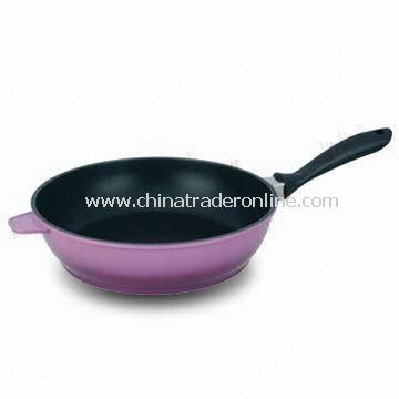 28cm Non-stick Saute Frying Pan with 2 Mixed Colors Outer Coating, Made of Die-cast Aluminum